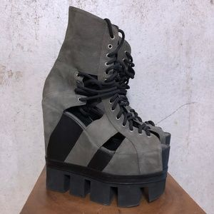 Chromat Sport Lace Up Wedge Grey Leather 9/9.5